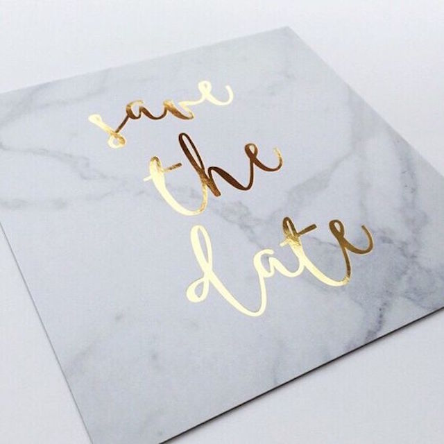 Marble save the date with gold foil lettering | 2016 Wedding Trend | Marble Wedding Details
