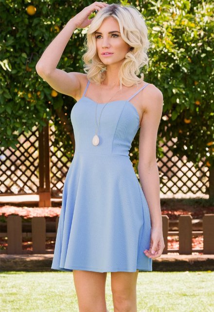 Chic outfit with blue dress