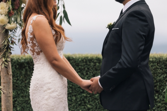 Touching Wedding With Greenery Decor Elements And Chic Gowns