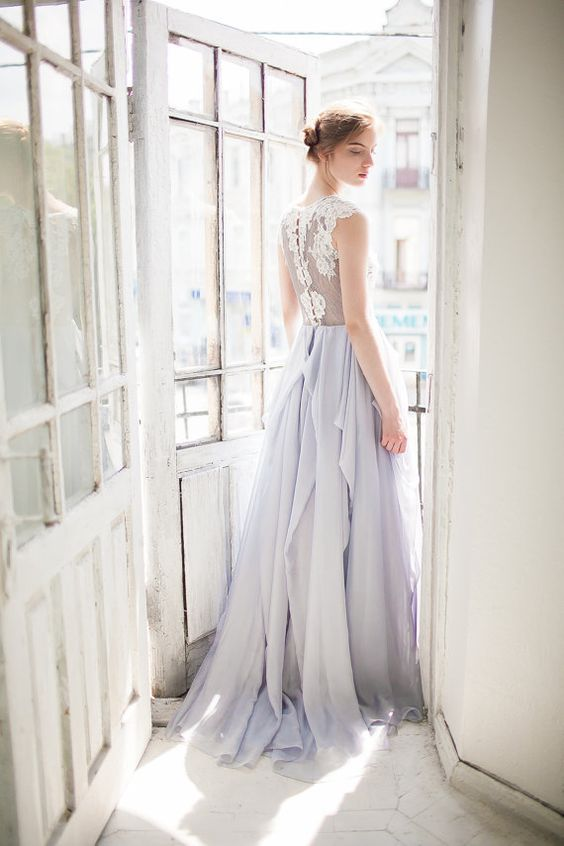 blue-grey lace wedding dress