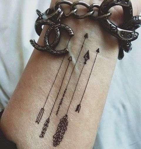arrows on a wrist