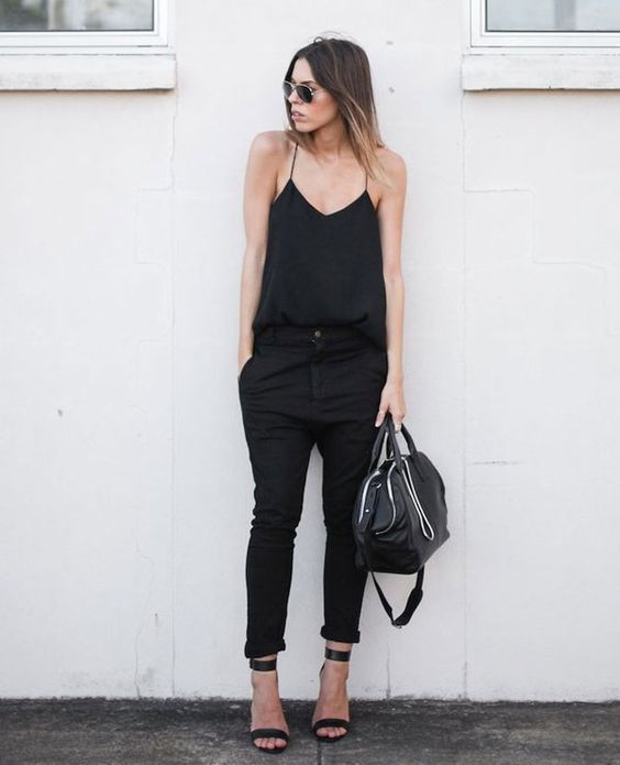 spaghetti strap top, black pants and black heels