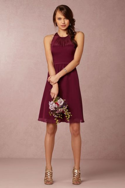 Simple wine colored dress