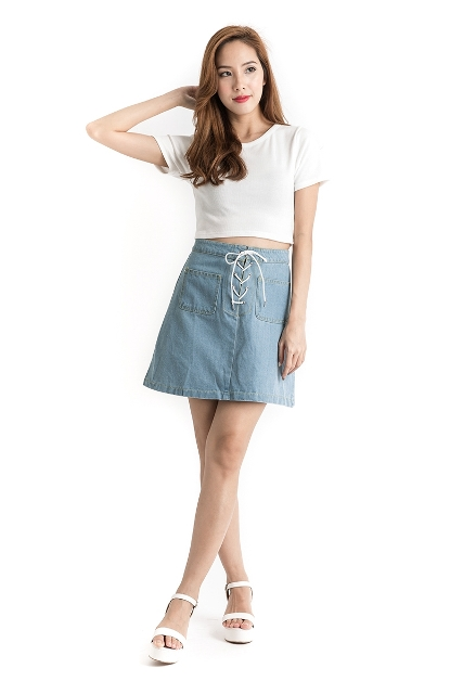 Look with blue high waisted skirt and white t shirt
