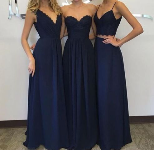 Midnight bridesmaid dresses in various styles