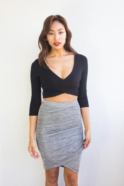 Look with black crop top and gray pencil tulip skirt