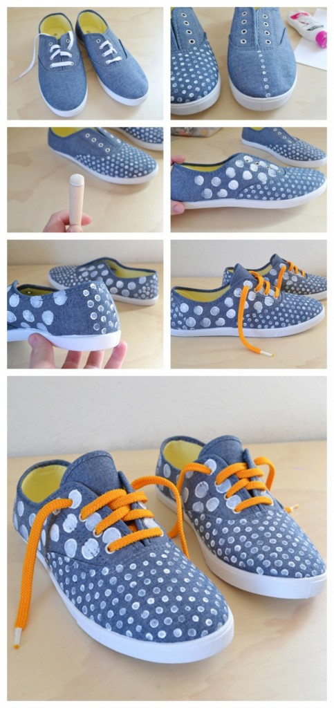 #1 - Cute DIY Chambray Artwork on Sneakers