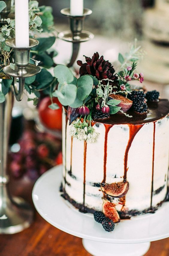 dripped blackberry and fig wedding cake