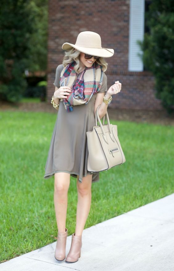 trapeze dress, a checked scarf and nude boots