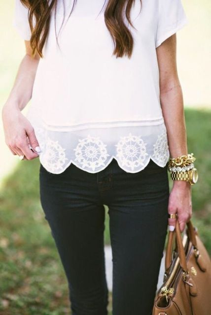 Touching white shirt and black jeans