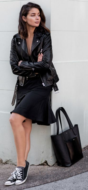 black over the knee dress and a leather jacket