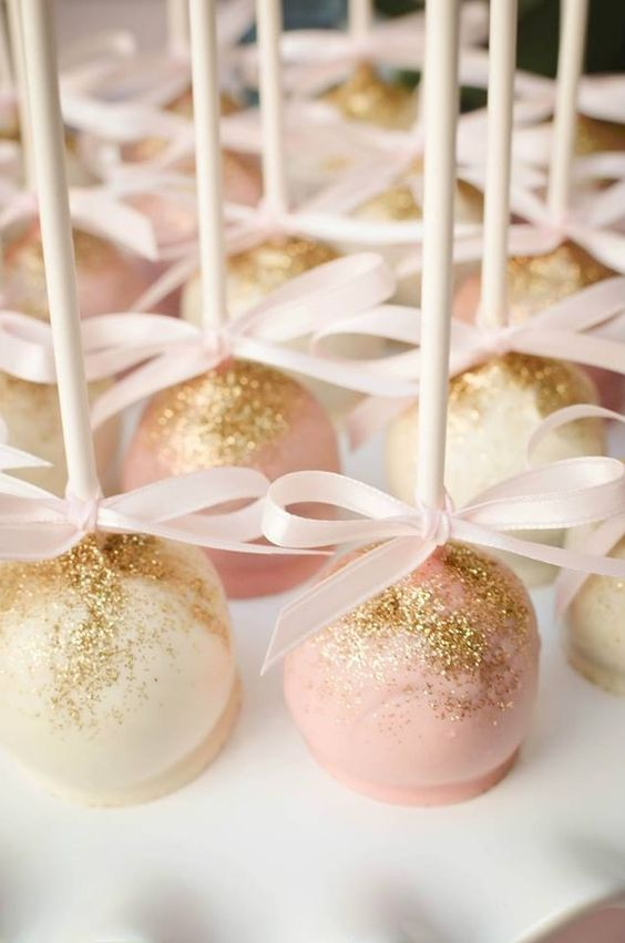 blush pops with edible gold glitter as favors
