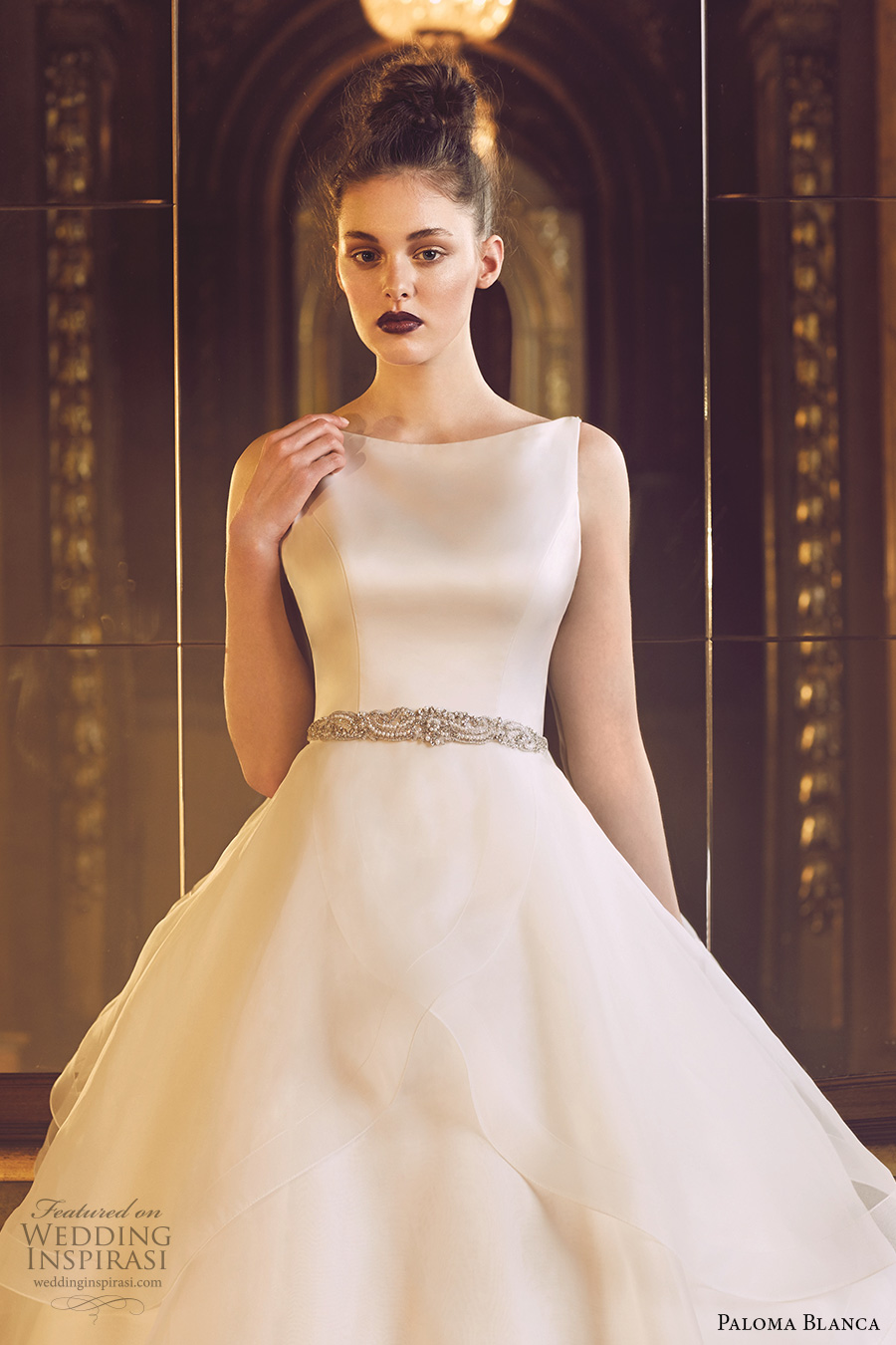 paloma blanca fall 2016 bridal sleeveless boat neckline simple clean design elegant layered skirt ball gown a line wedding dress open low back sweep train (4715) zv