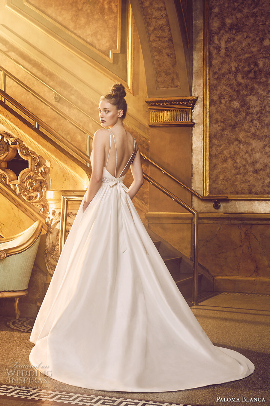 paloma blanca fall 2016 bridal sleeveless round neckline simple clean bodice elegant romantic a line wedding dress with pockets low back chapel train (4719) bv