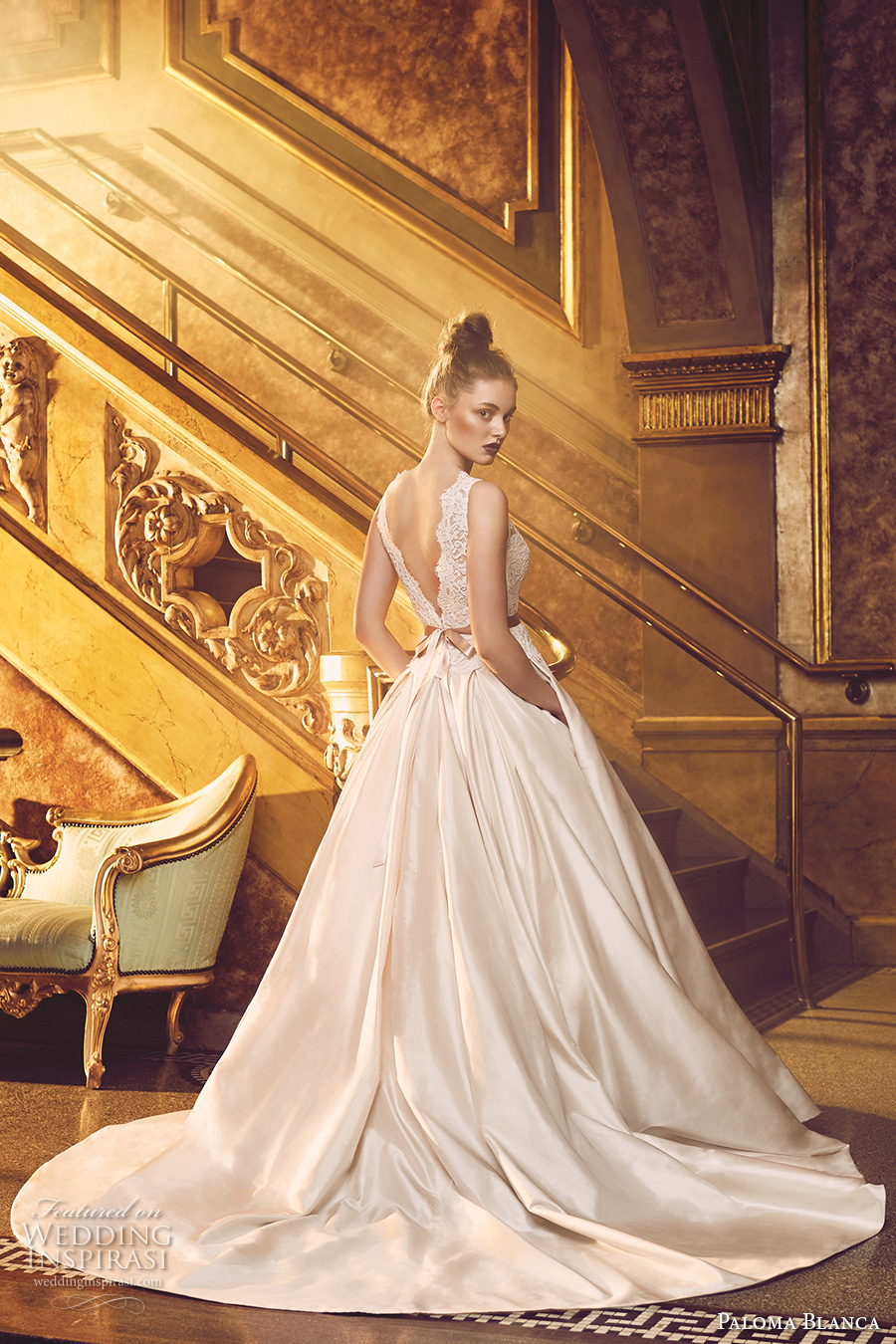 paloma blanca fall 2016 bridal sleeveless scallop bateau neckline heavily embellished bodice beautiful princess romantic a line ball gown wedding dress with pockets v back chapel train (4720) bv