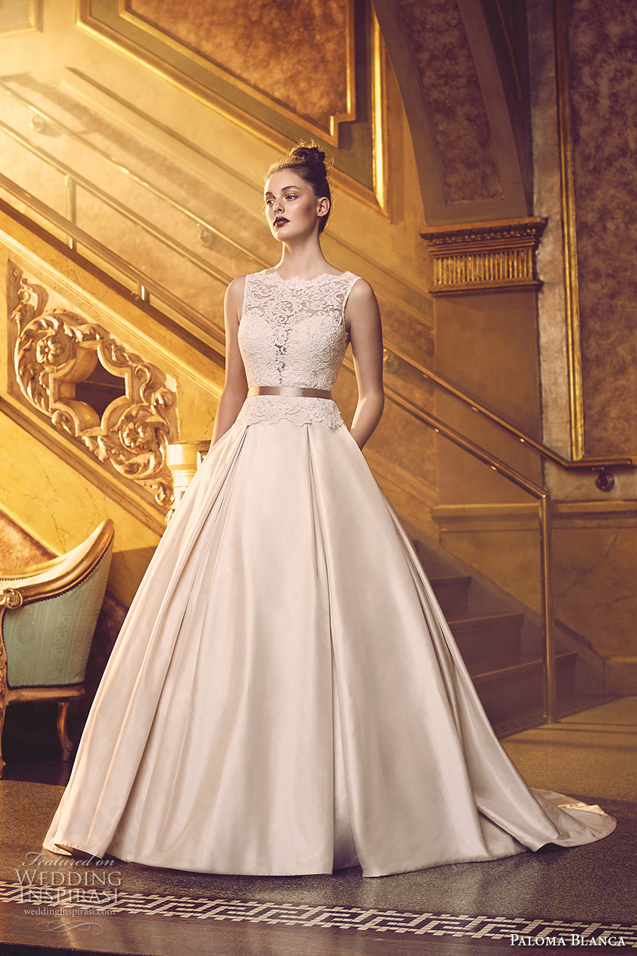 paloma blanca fall 2016 bridal sleeveless scallop bateau neckline heavily embellished bodice beautiful princess romantic a line ball gown wedding dress with pockets v back chapel train (4720) mv