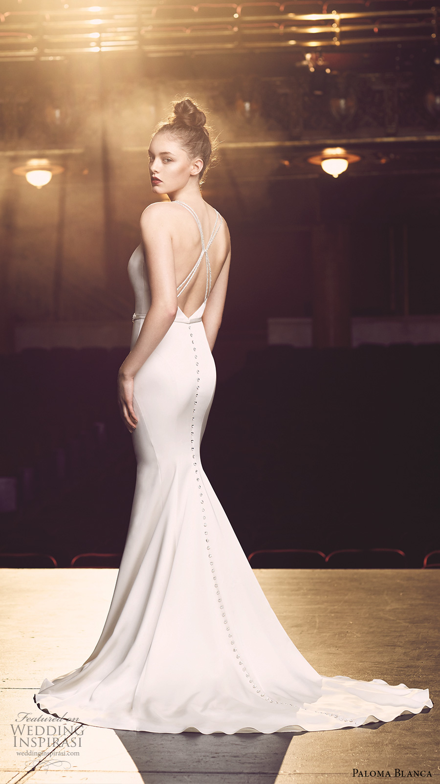 paloma blanca fall 2016 bridal sleeveless v neck deep plunging neckline embellished belt simple chic clean mermaid wedding dress low back sweep train (4714) bv