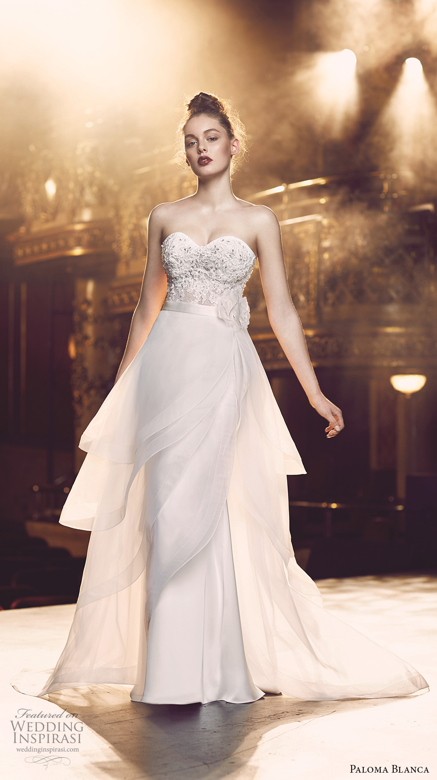 paloma blanca fall 2016 bridal strapless sweetheart neckline heavily embellished bodice sexy elegant a line wedding dress detachable overskirt sweep train (4713) mv