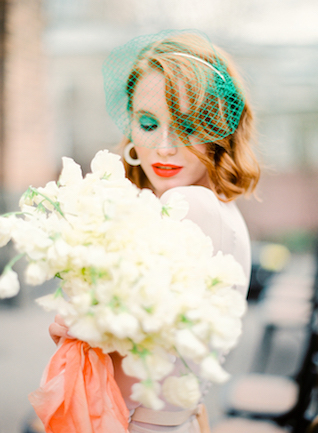 Green eyeshadow and birdcage veil | Kir & Ira Photography