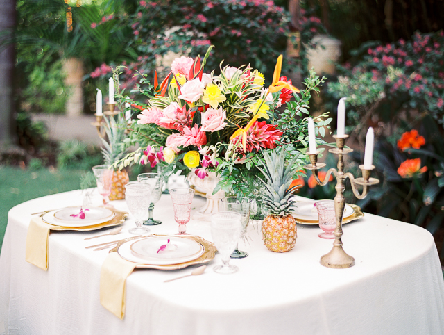 Pineapple and tropical floral centerpiece | Angelica Chang Photography