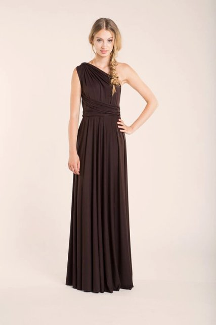 One shoulder maxi pleated dress