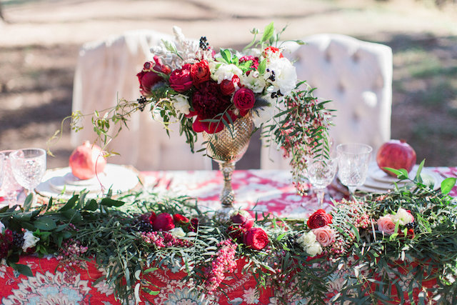 Goblet centerpiece vase with red peony | Molly Lichten Photography