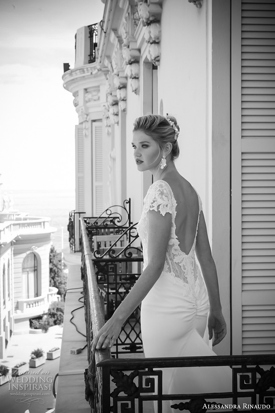 alessandra rinaudo 2017 bridal cap sleeves bateau neckline heavily embellished bodice elegant sheath wedding dress low back long train (7) zbv