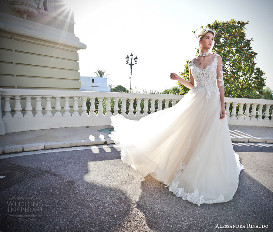 alessandra rinaudo 2017 bridal illusion half sleeves v neck heavily embellished bodice tulle skirt romantic a line wedding dress lace back chapel train (13) mv