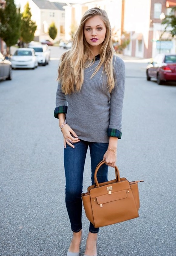 blue jeans, a grey sweater, a plaid shirt and grey heels