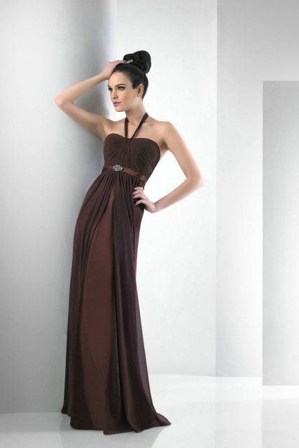 Stylish chocolate brown maxi dress