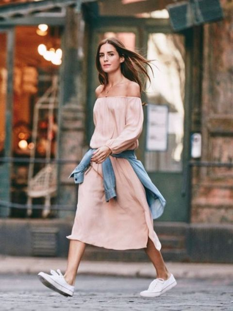 Off the shoulder midi dress with white sneakers