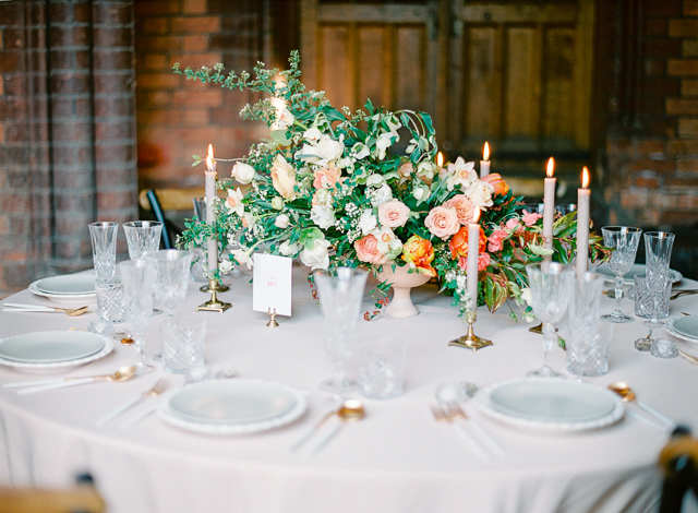 Peach and green wedding reception | Kir & Ira Photography