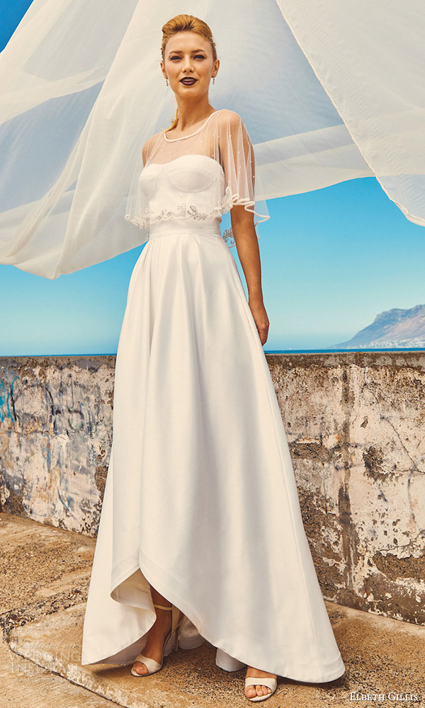 elbeth gillis milk honey 2017 bridal separates strapless aline wedding dress (marina cape chloe top harper skirt) mv