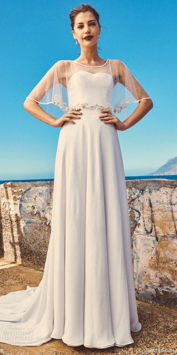 elbeth gillis milk honey 2017 bridal separates strapless aline wedding dress (marina cape linda top shelby skirt) fv