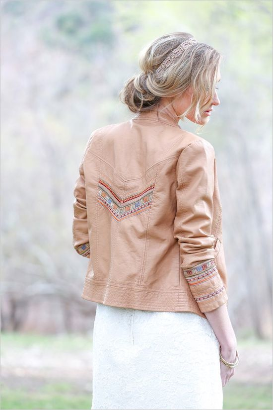 embroidered amber leather jacket for a boho bride
