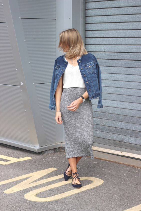 grey knitted skirt and denim jacket with lace up flats