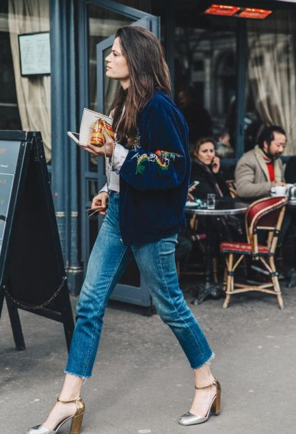 Velvet bomber jacket with jeans and metallic shoes