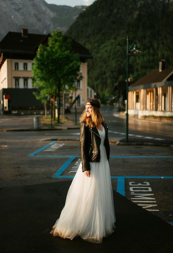 tulle dress and a moto jacket for a rock bride