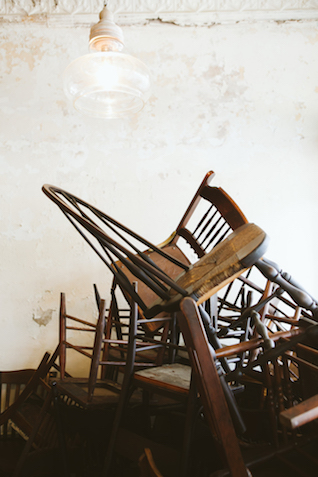 Vintage chairs stacked | Al Gawlik Photography