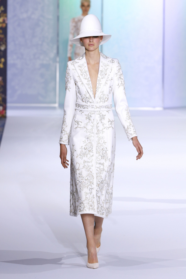 Ralph&Russo wedding suit with a skirt and intricate embroidery