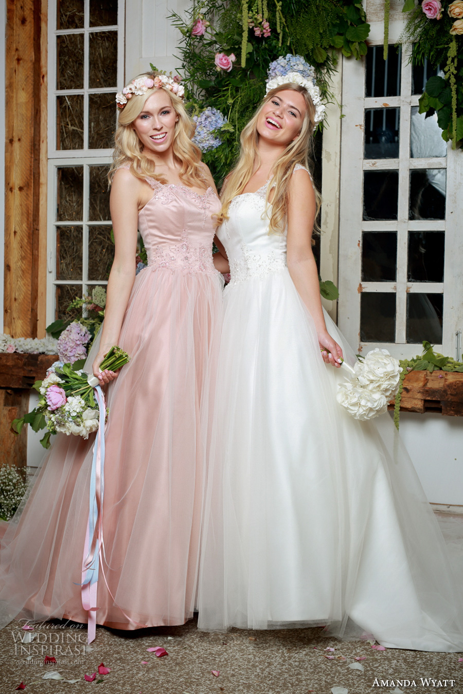 amanda wyatt 2017 bridal thick strap semi sweetheart neckline lightly embellished bodice tulle skirt ivory pink color romantic a line wedding dress sweep train (mistie ivory and pink ) mv