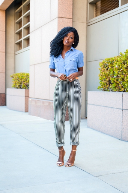 With denim shirt and heels