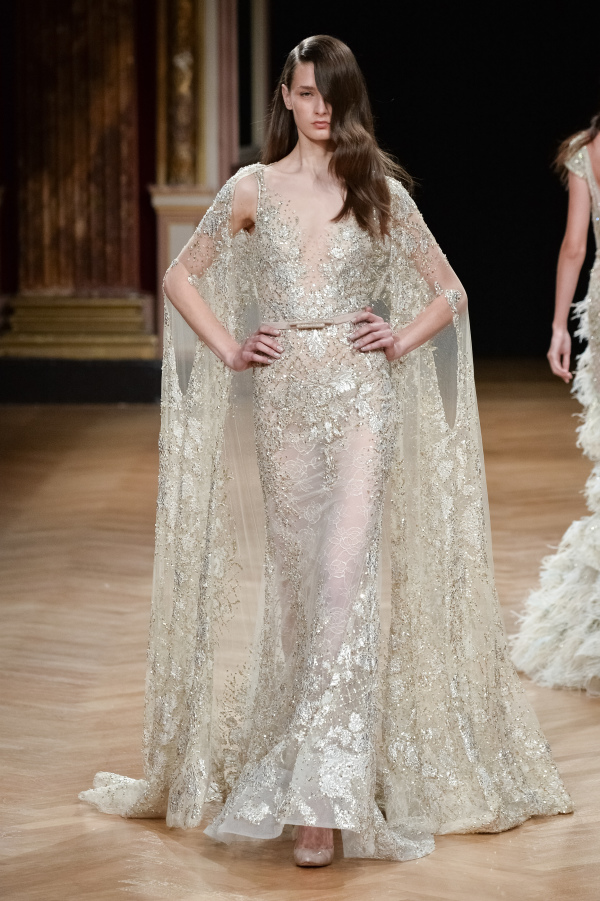 Ziad Nakad sparkling champagne wedding dress with beads and sleeves to the floor