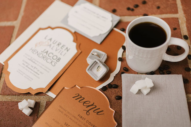 Coffee themed wedding invitations | Lauren Rae Photography