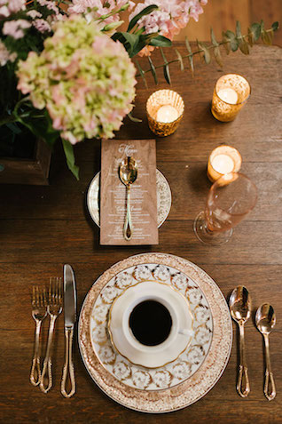 Warm brown vintage place setting | Lauren Rae Photography