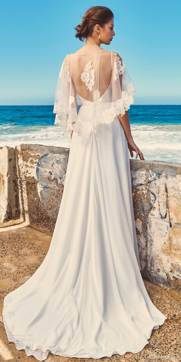 elbeth gillis milk honey 2017 bridal separates wedding dress (lily cape linda top shelby skirt) bv train