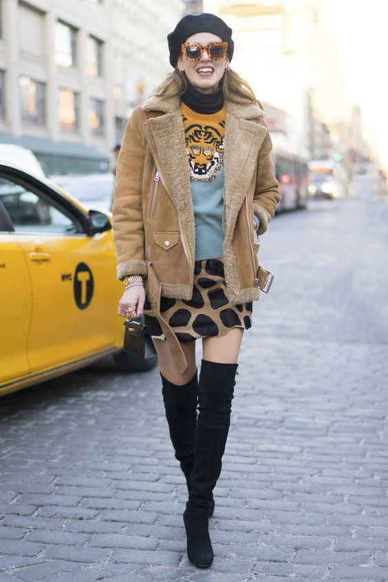 How to wear Shearling Boots - Ideas to wear Dresses with boots (22)