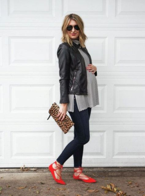 navy jeans, a striped tunic, a leather jacket, red lace up flats