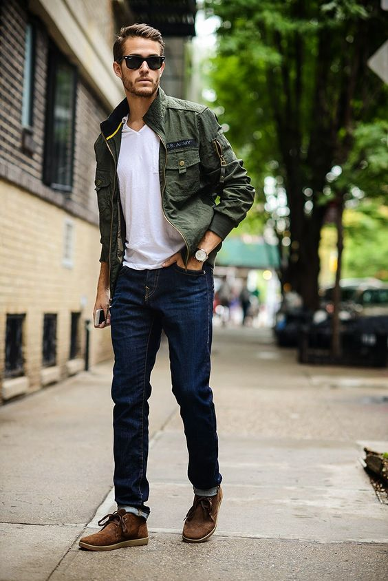 jeans, a white tee, a military jacket and brown suede shoes