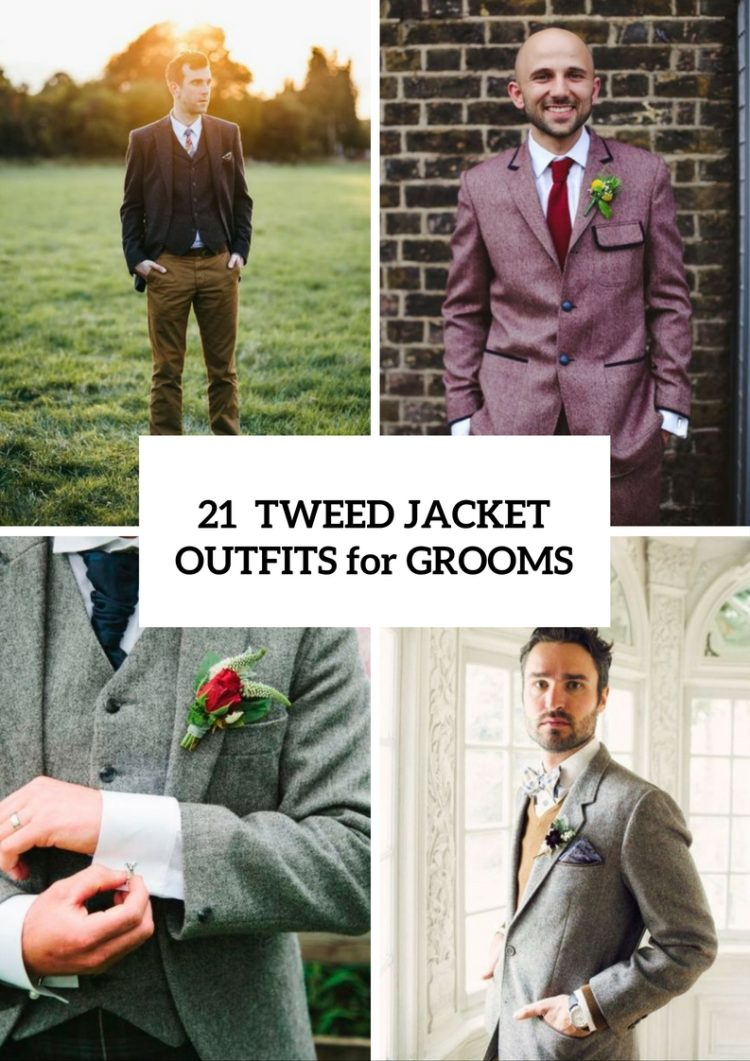 Classy Tweed Jacket Outfits For Grooms